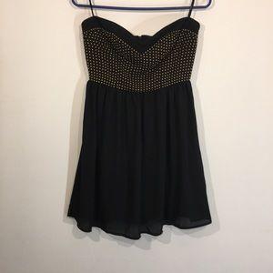 Forever 21 strapless Gold & Black mini dress